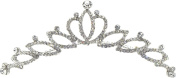 Fancy Hair Jewellery, Silvertone Fancy Princess Crown Tiara Design Sparkling Crystals Comb