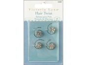 Darice VL3057 Rhinestone Jewel Hair Twist Accent, Silver, 4-Pack