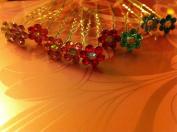 crystal flower Bridal party Hair Pins. Wedding Jewellery!5 pins!dark green!