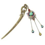 Antique Brass Phoenix Style Hair Stick with Tassels Multicoloured