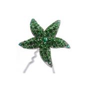 DoubleAccent Hair Jewellery Crystal Starfish Bun Stick Green Colour