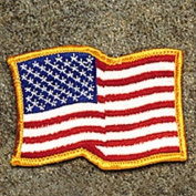 USA America Flag Waving - Gold Border Patch