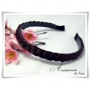 H1121 New Headband Synthetic Hair Wig Braid Dark Brown Wide 1 Cm Beautiful