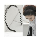 Unisex Black Wavy hair band headband / Hair Holder and One Bonus Ponytail Holder
