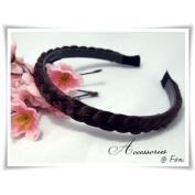 H1121 New Headband Synthetic Hair Wig Braid Dark Brown Wide 1 Cm Beautiful!!