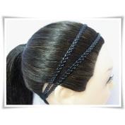 H1804 Black Headband Leatherette Double Braid Stretch Elastic