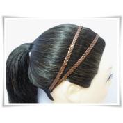 H1814 Dark Brown Headband Leatherette Double Braid Stretch Elastic