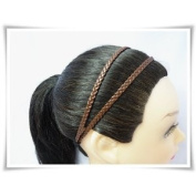 H1814 Dark Brown Headband Leatherette Double Braid Stretch Elastic !