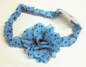 2.5cm Turquoise Polka Dot 7.6cm Flower Elastic Headbands For Girls And Women One Size Fits All