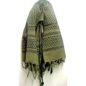 Arab Keffiyah Kafiyah Head Scarf Shemagh Olive/Black