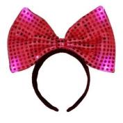 Light up Polka Dot Minnie Mouse Bow Headband 3 Light Modes - Red
