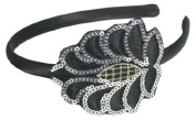 Smoothies Sequins Embroidered Patch Headband-Black 01585