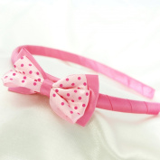 Polka Dot Bow Headband for Girls - Hot Pink