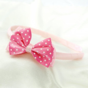 Polka Dot Bow Headband for Girls - Light Pink