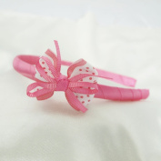 Polka Dot Bow with Ribbons Headband for Girls - Hot Pink