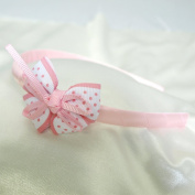 Polka Dot Bow with Ribbons Headband for Girls - Light Pink
