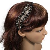 Greek Style Fashion Black Gold Crystal Leaf 0.6cm Vintage Style Headband