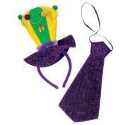 Mardi Gras Headband & Necktie Set