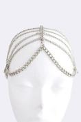 Fashion Hair Accessory ~ Silvetone Lined Drape Head Chain