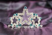 Beautiful New Bridal Wedding Tiara Crown W/ OceanBlue Crystal Star DH15722c