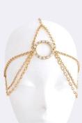 Fashion Hair Accessory ~ Goldtone Hooped Chain Drape Head Chain