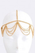 Fashion Hair Accessory ~ Goldtone Swag Drape Head Chain (Style BH0363 Gld_