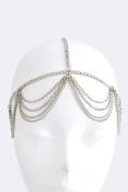 Fashion Hair Accessory ~ Silvertone Swag Drape Head Chain