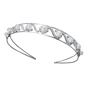 Bridal Wedding Crystal Rhinestone Faux Pearl Cluster Headband Tiara