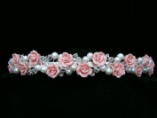 Pink Rose Flower Pageant Crystal Pearl Bridal Wedding Headband Tiara