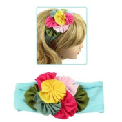 Girls Soft Fabric Wide Stretch Headband with Colourful Flowers