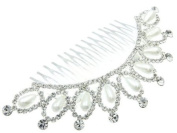 Fashion Hair Accessory ~ Cream Faux Pearls Accented with Clear Rhinestone Crystals Hair Comb
