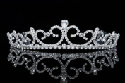 Fleur De Lis Design Princess Tiara Crown - Silver Plated Clear Crystals T551