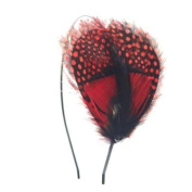 Crystalmood Handmade Bohemian Red Guinea Fowl Feather Hairband Kit Adjustable Removable