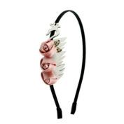 White Leatherette Swan w/ Satin Roses Hairband Peach