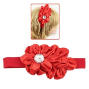Girls Red Holiday Double Flower Stretch Hairband