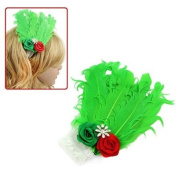 Girl's White Lace Stretch Headband w/ Green Feather & Flowers