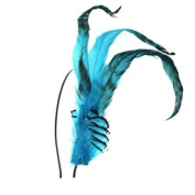 Crystalmood Handmade Blue Long Feather Hairband Kit Adjustable Removable