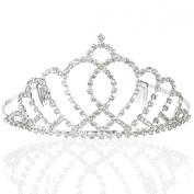 Bridal Wedding Princess Tiara Crown With Blooming Crystal Rhinestone Crossed Hearts