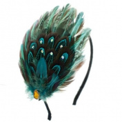 Blue Feather Adjustable Removable Hairband with Rhinestones
