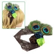Girl's Brown Lace Stretch Headband w/ Peacock Feather & Satin Roses