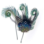 Crystalmood Handmade Curly Peacock Feather Hairband Kit Adjustable Removable
