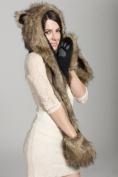 3in1 Hat/scarf/mittens Faux Fur Brown Bear Hood with Fleece Lining