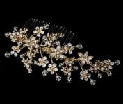 . Crystal Wedding Bridal Comb Gold