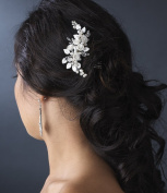 Pearl Accented Silver White Bridal Comb
