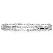 Bling Jewellery Triple Rows of Pearl and Rhinestone Bridal Tiara Headband