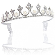 Bling Jewellery White Gold Pearl Crown Bridal Tiara