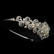 Alize Ivory Freshwater Pearl & Crystal Floral Side Accented Wedding Bridal Tiara Headband