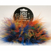 2 Vibrant Multi Coloured Marabou Feather Hair Tie Scrunchy Pony Tail Holders NEW!