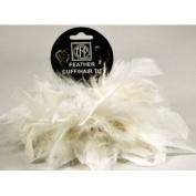 2 White Chandelle Feather Hair Tie Scrunchy Pony Tail Holder