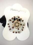 Brown Flower Ponytail Holder with Rhinestones